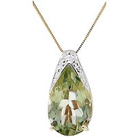 Green Amethyst Snowcap Pendant Necklace 5.0ct in 9ct Gold - Lime Green Gifts