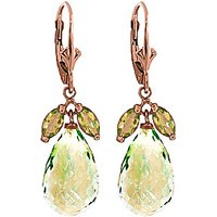 Click to view product details and reviews for Green Amethyst Peridot Snowdrop Earrings in 9ct Rose Gold.