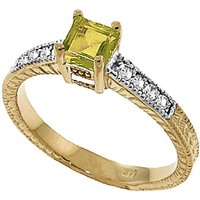 Click to view product details and reviews for Peridot Diamond Shoulder Set Ring in 9ct Gold.