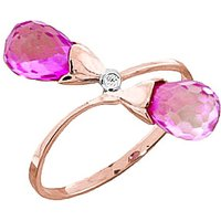 Pink Topaz & Diamond Duo Ring in 9ct Rose Gold - Pink Gifts