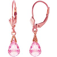 Pink Topaz Droplet Earrings 4.5 ctw in 9ct Rose Gold - Pink Gifts