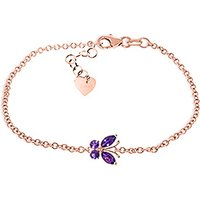 Amethyst Adjustable Butterfly Bracelet 0.6ctw in 9ct Rose Gold