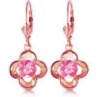 Pink Topaz Corona Drop Earrings 1.1ctw in 9ct Rose Gold - Pink Gifts