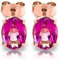 Pink Topaz Stud Earrings 1.8ctw in 9ct Rose Gold - Pink Gifts