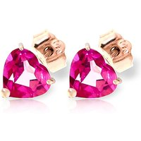 Pink Topaz Heart Stud Earrings 3.25ctw in 9ct Rose Gold - Pink Gifts