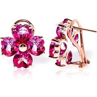 Pink Topaz Flower Heart Stud Earrings 7.6ctw in 9ct Rose Gold - Pink Gifts