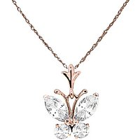 Cubic Zirconia Butterfly Pendant Necklace 1.5ctw in 9ct Rose Gold - Butterfly Gifts