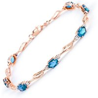 Blue Topaz and Diamond Classic Tennis Bracelet 3.38ctw in 9ct Rose Gold - Fashion Gifts