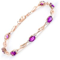 Pink Topaz and Diamond Classic Tennis Bracelet 3.38ctw in 9ct Rose Gold - Diamond Gifts