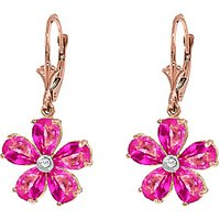 Pink Topaz and Diamond Flower Petal Drop Earrings 4.4ctw in 9ct Rose Gold - Pink Gifts