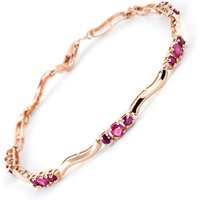 Ruby and Diamond Trinity Tennis Bracelet 1.75ctw in 9ct Rose Gold - Fashion Gifts