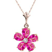 Pink Topaz and Diamond Flower Petal Pendant Necklace 2.2ctw in 9ct Rose Gold - Necklace Gifts