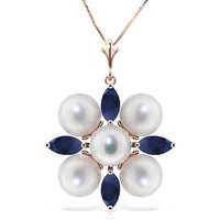 Sapphire and Pearl Pendant Necklace 6.3ctw in 9ct Rose Gold - Qp Jewellers Gifts