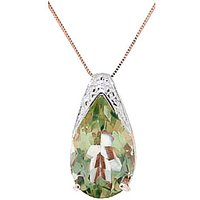 Green Amethyst Snowcap Pendant Necklace 5.0ct in 9ct Rose Gold - Lime Green Gifts