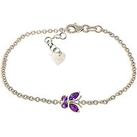 Amethyst Adjustable Butterfly Bracelet 0.6ctw in 9ct White Gold