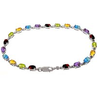 Gemstone Infinite Tennis Bracelet 5.46ctw in 9ct White Gold - Sport Gifts