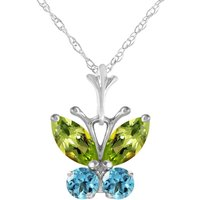 Peridot and Blue Topaz Butterfly Pendant Necklace 0.6ctw in 9ct White Gold - Fashion Gifts