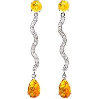 Diamond and Citrine Drop Earrings in 9ct White Gold