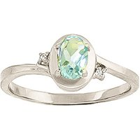 Aquamarine and Diamond Meridian Ring 0.5ct in 9ct White Gold - Gold Gifts