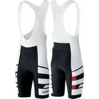 Trägerhose Shimano Team Bib Shorts mit Polster weiß/schwarz S