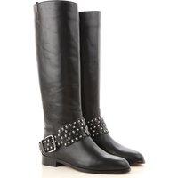 Valentino Garavani Boots for Women, Booties On Sale, Black, Leather, 2019, 6.5 7.5