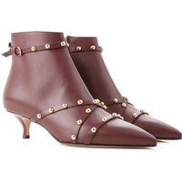 Valentino Garavani Boots for Women, Booties On Sale, Red Valentino , Bordeaux, Leather, 2019, 3.5 7.
