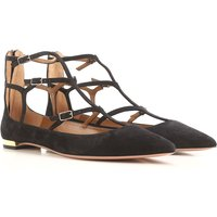 Aquazzura Ballet Flats Ballerina Shoes for Women On Sale in Outlet, Black, Suede leather, 2019, 4.5