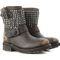 Ash Boots for Women, Booties On Sale, Black, Leather, 2019, 7.5 8.5