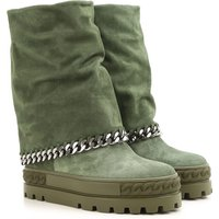 Casadei Boots for Women, Booties On Sale in Outlet, Green, suede, 2017, 4 7.5