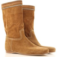 Car Shoe Boots for Women, Booties On Sale in Outlet, Caramel, Suede leather, 2017, 5.5 6 7.5