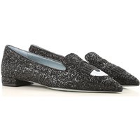 Chiara Ferragni Ballet Flats Ballerina Shoes for Women On Sale, Black, Glitter Leather, 2019, 3.5 4.