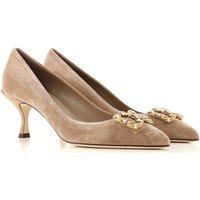 Dolce & Gabbana Zapatos de Tacón de Salón Baratos en Rebajas, Gris Pardo, Gamuza, 2019, 37.5 38 38.5 39