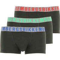 Dirk Bikkembergs Boxer Briefs for Men, Boxers On Sale, 3 Pack, Dark Military Green, Cotton, 2019, S