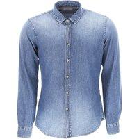 Dondup Shirt for Men, Blue Denim, Cotton, 2019, S * IT 46 M * IT 48 XXL * IT 54