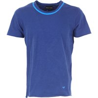Emporio Armani T-Shirt for Men On Sale in Outlet, Cobalt Blue, Cotton, 2017, S XXL