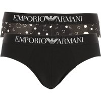 Emporio Armani Briefs for Men On Sale, 2 Pack, Black, Cotton, 2021, L M