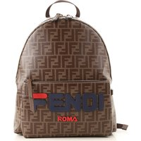 Fendi Backpack for Men, Tobacco, Coated Canvas, 2019