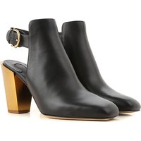 Salvatore Ferragamo Boots for Women, Booties On Sale in Outlet, Black, Leather, 2021, 3 6