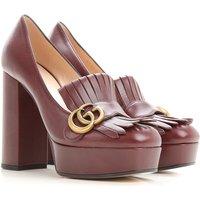 Gucci Womens Shoes, Bordeaux, Leather, 2019, 6 6.5
