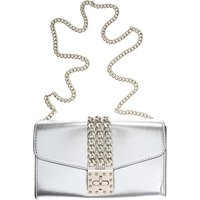 Guess Shoulder Bag for Women, Silver, Leather, 2019