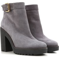Hogan Boots for Women, Booties On Sale in Outlet, Grey, Suede leather, 2017, 4 5 7.5