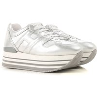 Hogan Sneakers for Women On Sale in Outlet, Silver, Leather, 2019, 6 7.5