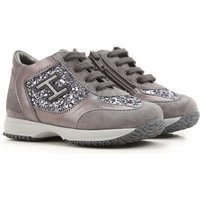 Hogan Kids Shoes for Girls On Sale, Grey, Suede leather, 2017, 21 24 25 26