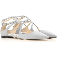 Jimmy Choo Ballet Flats Ballerina Shoes for Women On Sale, Silver, Leather, 2017, 3.5 5.5 6 7.5