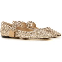 Jimmy Choo Ballet Flats Ballerina Shoes for Women, Gold, Glittered Leather, 2021, 3.5 4.5 6.5 7.5 8.