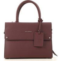 Karl Lagerfeld Top Handle Handbag, Wine, Leather, 2019