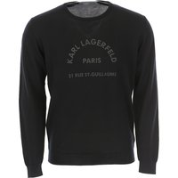 Karl Lagerfeld Sweater for Men Jumper, Black, Pure Merino Wool, 2019, M XXL