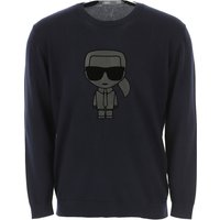 Karl Lagerfeld Sweater for Men Jumper, Ink, Cotton, 2019, XL XXL