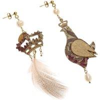 Lebole Earrings for Women, Beige, Wood, 2019