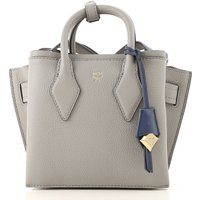 MCM Top Handle Handbag, Medium Grey, Leather, 2019